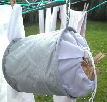 Grey Collapsible Peg Bag Hanging Clip Durable Water Resistant